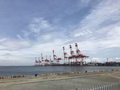 神戸港のガントリークレーン 日曜日の神戸港はキリンの群れだらけ。Gantry crane of Kobe port.Kobe Port on Sunday is full of giraffe flocks.