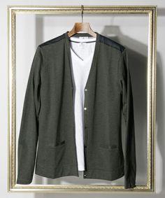 LANVIN en Bleu MEN(ランバン オンブルーメン)のMetal Buttons Long-sleeved C/S Cardigan/メタル釦 長袖カットソー カーディガン(カーディガン)|チャコールグレー