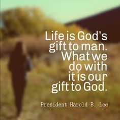 Life is God's gift to man.  What we do with it is our gift to God.  President Harold B. Lee
