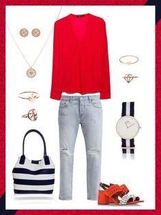 What to wear to work: das perfekte Büro-Outfit mit klassischer Levis Jeans und roten Highlights.