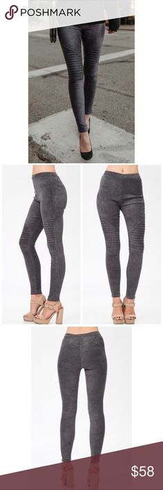 🖤Gray Moto Leggings🖤 Faux Suede And Super Soft! Good quality and good amount of stretch. Elastic waistband. Runs a little small. I'm an xs/s and the small fits me snug. 92% Polyester 8% Spandex. Pants Leggings