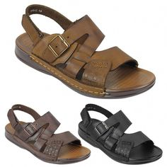 b64bdb513 Mens Real Leather Sandals Adjustable Strap Buckle Slip on Beach Slippers UK  Size