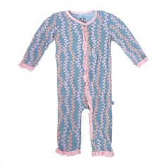 Kickee Pants Print Fitted Ruffle Coverall Blue Moon Seaweed