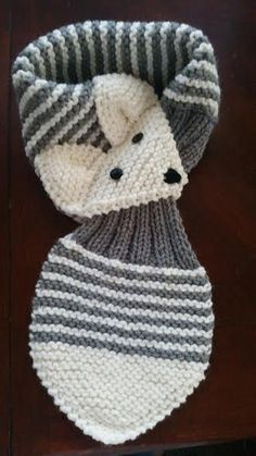 Adjustable Stripe Fox Scarf Hand Knit scarf / Neck warmer This listing for one scarf Made with acrylic yarn. The scarf is very cute warm and nice Size: length: 27~ 29( 69~71 cm ) width: 6 (15 cm ) Hand wash in cold, lay flat to dry.
