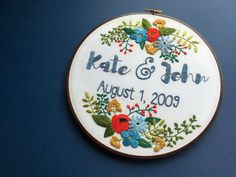 Custom Personalized Embroidery Hoop Art by HoffeltAndHooperCo