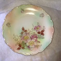 """ANTIQUE BAVARIA SCHUMANN ARZBERG GERMANY WILD ROSE CHARGER PLATE 12""""  116.00"""