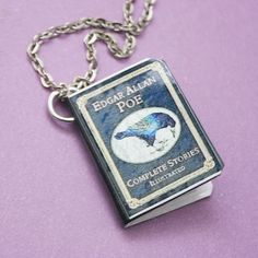 Edgar Allan Poe Necklace Book Pendant Miniature by PaperPistol, $8.00