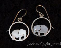 Elephant Earrings Studs Sterling Silver