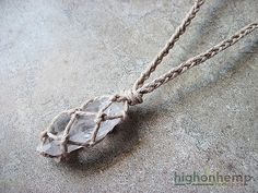 Natural Raw Crystal Hemp Necklace  #natural #crystal #hemp #necklace