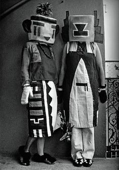 Sophie Taeurber-Arp (wife of Jean Arp) and Erika Taeurber dressed in Kachina costumes that Sophie created, 1922.