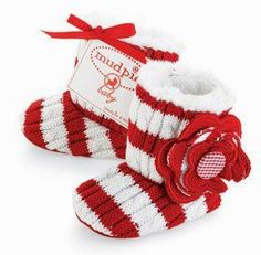 Slip your baby's feet into these comfy and cozy red and white striped booties by Mud Pie! These adorable baby booties will look just precious on your baby girl for the holiday season with our matching Sweater Romper with Flower. The Striped Cable Knit Bo Babies First Christmas, Christmas Baby, Christmas Clothes, Christmas Outfits, Mudpie Christmas, Newborn Christmas, Xmas, Christmas Stuff, Christmas Time