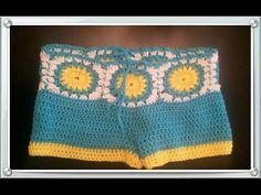 Tutorial Shorts Crochet o Ganchillo en Punto V (Uve) - YouTube Shorts Crochet, Bikinis Crochet, Diy Shorts, Crochet Shawl, Crochet Clothes, Knit Crochet, Form Crochet, Crochet Patterns, Short Tejidos