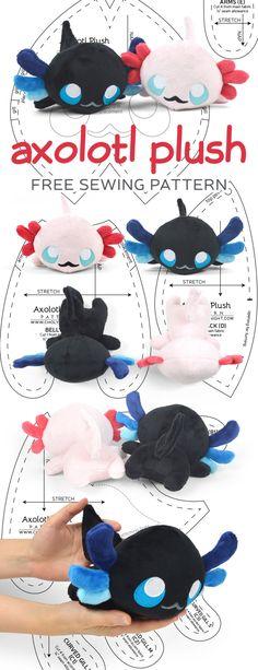 Axolotl Plush Sewing Pattern by SewDesuNe on DeviantArt Plushie Patterns, Animal Sewing Patterns, Sewing Patterns Free, Free Sewing, Free Pattern, Softie Pattern, Embroidery Patterns, Doll Patterns, Pattern Sewing