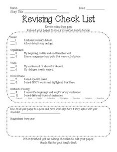 Revising and editing checklist for research papers