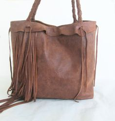 brown leather handbag tote bomber jacket leather with  par tuscada, $219.00
