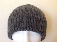 Men's Dark Grey 100% New Wool Aran Beanie Hat   Hand by sewmoira