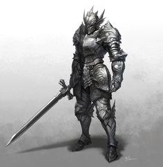 m Fighter Plate Armor Helm Greatsword male fog ArtStation knight by YoungHan Kim Character Design Cartoon, Fantasy Character Design, Character Art, Fantasy Armor, Dark Fantasy Art, Armor Concept, Concept Art, Saga Art, Dragon Rpg