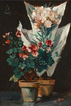 Alfred Stevens  Still Life with Potted Geraniums  1889