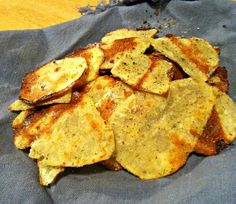 Healthy baked potato chips! Low fat and low sodium....when baked in the oven potatoes have absolutely NO fat!