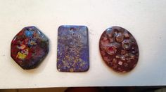 A trio of copper enameled pendants with copper shard & murrini inclusions