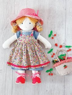 Doll with Strawberries dress pattern 2.99