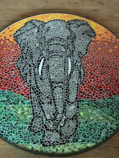 Mosaic table with majestic elephant in the sunset. Mosaic Diy, Mosaic Garden, Mosaic Crafts, Mosaic Projects, Mosaic Glass, Stained Glass, Glass Art, Mosaic Birdbath, Mosaic Designs