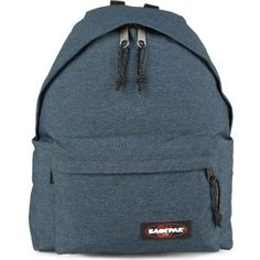 EASTPAK Padded Pak'r denim backpack ($68) ❤ liked on Polyvore featuring bags, backpacks, double denim, strap backpack, backpacks bags, padded backpack, denim bag and blue backpack