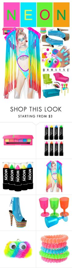 """""""Bright Eyes: Neon Beauty"""" by yours-styling-best-friend ❤ liked on Polyvore featuring beauty, Mamadoux, Pleaser, claire's and neonbeauty"""