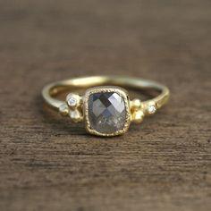 Smoky gray diamond ring.