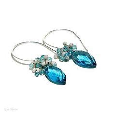 Peacock Blue Dangle Earrings / Marquis Teardrops / by shopshrew