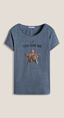 Esprit / T-shirt with a sequin star