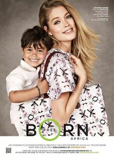 Doutzen Kroes with her son Phyllon for a photoshoot against HIV in children.