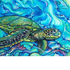 Honu Kai-Giclee(Canvas Print) – Colleen Wilcox Art