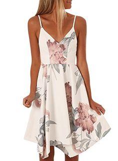 0ec3ae75eb7 Asvivid Juniors V-Neck Straps Backless Bohemian Floral Beach Party Midi  Dress Sundresses Medium White