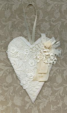 Lace Christmas ornament or door hanger. The heart measures appx x 6 inches and is fashioned from a quilted type fabric on front and back. Victorian Christmas Ornaments, Fabric Hearts, Lavender Bags, Lace Heart, I Love Heart, Heart Crafts, Linens And Lace, Valentines Day Hearts, Vintage Crafts