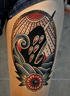 Narwal tattoo, done by Christian Lanouette