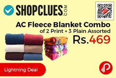 Shopclues #DealofTheDay is offering 41% off on Combo of 2 Piccadio Print AC Fleece Blanket 3 Plain AC Fleece Blanket Assorted Single Bed at Rs.469 Only. Dimensions – Length 128, Width 210. Size 128 xms x 210cms, Weight 2000gm.   http://www.paisebachaoindia.com/ac-fleece-blanket-combo-of-2-print-3-plain-assorted-at-rs-469-only-shopclues/