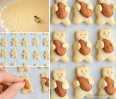 These teddy bear cookies are SO CUTE and they taste amazing! They're simple to make and completely adorable! Cake Cookies, Sugar Cookies, Teddy Bear Cookies, Cookie Recipes, Dessert Recipes, Almond Cookies, Chocolate Cookies, Italian Cookies, Cookie Gifts