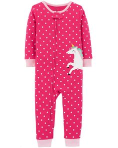 Crafted in soft cotton, these unicorn PJs get her ready for bed in one easy zip! Carter's cotton PJs are not flame resistant. They're designed with a snug and stretchy fit for safety and comfort Baby Girl Pajamas, Carters Baby Girl, Kids Pajamas, Toddler Girl, Baby Girls, Unicorn Outfit, Cotton Pyjamas, 1 Piece, Snug Fit