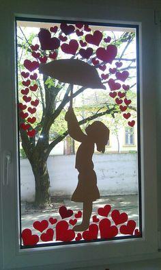 Window art - art - Wall design ideas - Window art art Window art art The post window art art appeared first o - Class Decoration, School Decorations, Valentines Day Decorations, Valentine Day Crafts, Diy And Crafts, Crafts For Kids, Paper Crafts, Window Art, Spring Crafts