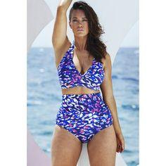 Purple Safari High Waist Bikini - swimsuitsforall