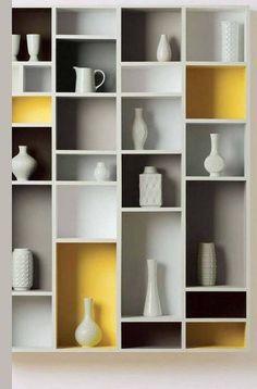 45 DIY Bookshelves: Home Project Ideas That Work gray and yellow bookshelf