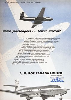 1950 Avro Jetliner original vintage advertisement. The Avro Jetliner represents America's first Jet Transport. More passengers... fewer aircraft... happier passengers... and relaxed crews. A.V. Roe Canada Limited, Malton, Ontario.