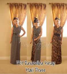 Reversible Wrap Maxi Dress DIY: Stripes & Chains Source by bespiers dresses diy Maxi Wrap Dress, Diy Dress, Dress Skirt, Diy Clothing, Clothing Patterns, Dress Patterns, Clothes Crafts, Sewing Clothes, Dress Sewing