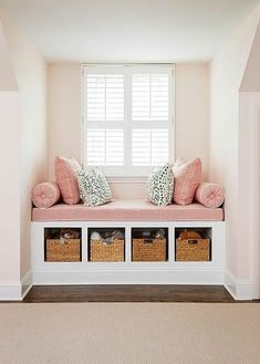 Pink girl's room features a nook filled with a built-in window seat fitted with open cubbies filled with woven baskets topped with a dusty pink linen cushion with white piping as well as matching bolster pillows, Girls Bedroom Decor Dream Bedroom, Diy Bedroom, Bedroom Small, Design Bedroom, Trendy Bedroom, Bedroom Girls, Bedroom Nook, Bedroom Colors, Dream Rooms