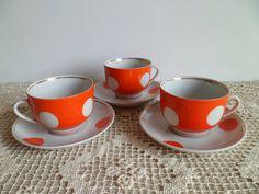 Set of 3 Soviet vintage red polka dot tea & by vintageUSSR777