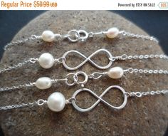 ON-SALE TWO Infinity Necklaces  Mother of by weddingbellsdesigns
