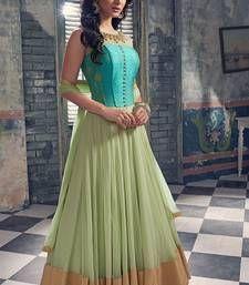 Buy green hand woven net semi stitched salwar with dupatta anarkali-salwar-kameez online