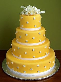 yellow wedding cake by colette Beautiful Wedding Cakes, Gorgeous Cakes, Pretty Cakes, Cute Cakes, Amazing Cakes, Take The Cake, Love Cake, Crazy Cakes, Fancy Cakes