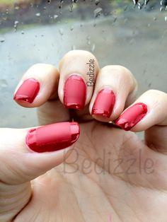 Nail Art- Red Matte Shine (w/center as a matte square)